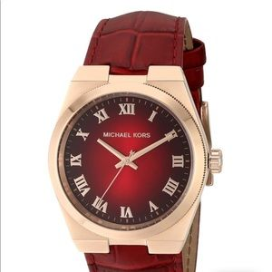 Michael Kors MK2357 Red Leather Watch